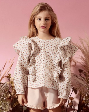 Double Ruffle Top - WhiteFlower